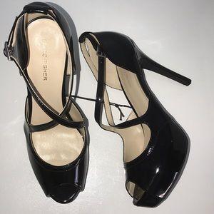 Marc Fisher Patent Leather Peep Toe Platform Heels